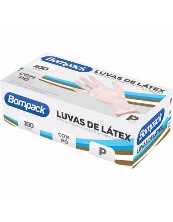 LUVA LATEX IND BOMPACK C/PO P 100UN