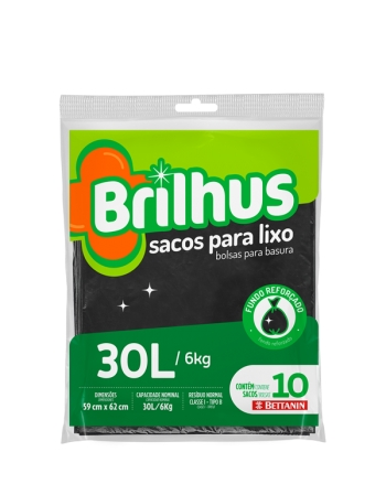 SACO P/ LIXO BRILHUS ALMOFADA 30L