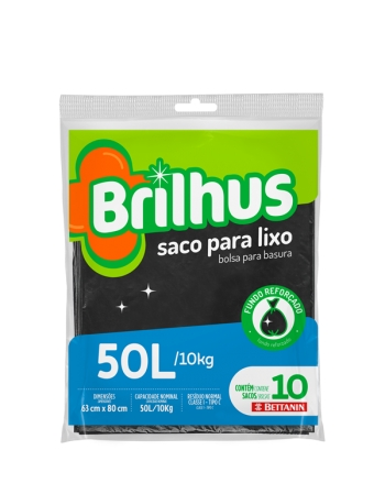 SACO P/ LIXO BRILHUS ALMOFADA 50L