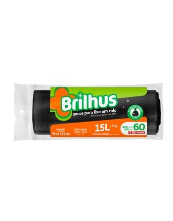 SACO P/ LIXO BRILHUS ROLO 15L