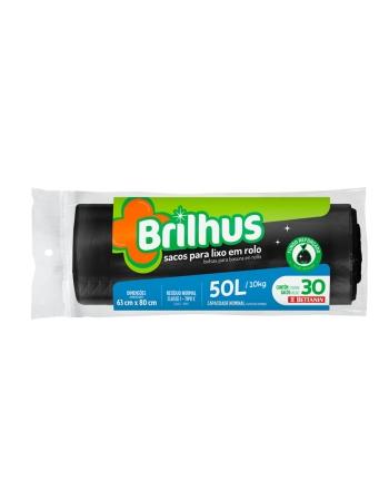 SACO P/ LIXO BRILHUS ROLO 50L