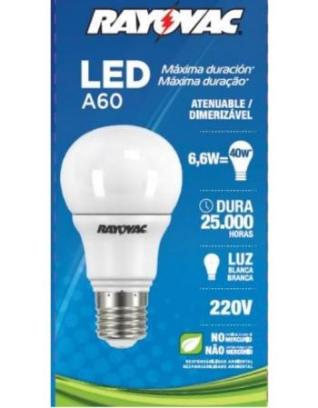 LAMPADA RAYOVAC LED 6.6W BRANCA 220V