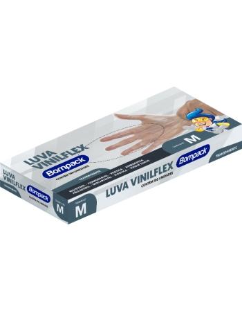 LUVA VINILFLEX BOMPACK S/PO TRANSPARENTE M 100UN